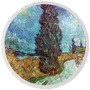 Van Gogh: Road, 1890 Round Beach Towel
