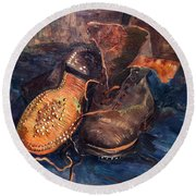 Van Gogh: The Shoes, 1887 Round Beach Towel
