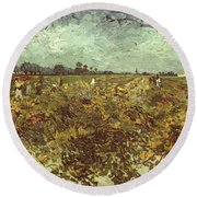 Van Gogh: Vineyard, 1888 Round Beach Towel
