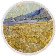 Van Gogh: Wheatfield, 1889 Round Beach Towel