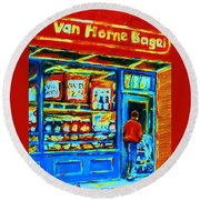 Van Horne Bagel Round Beach Towel