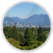 Vancouver Bc City Skyline From Queen Elizabeth Park Round Beach Towel