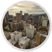 Vancouver Bc Cityscape Aerial View Round Beach Towel