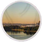 Vancouver Bc Cityscape By Stanley Park Morning View Round Beach Towel