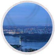 Vancouver Bc Cityscape During Blue Hour Dawn Round Beach Towel
