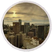 Vancouver Bc Cityscape During Sunset Round Beach Towel
