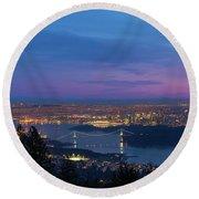 Vancouver Bc Cityscape Lions Gate Bridge Sunset Round Beach Towel