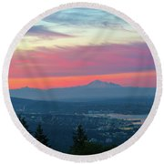 Vancouver Bc Cityscape With Cascade Range Morning View Round Beach Towel