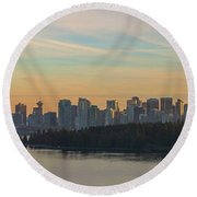 Vancouver Bc Skyline Along Stanley Park At Sunset Round Beach Towel