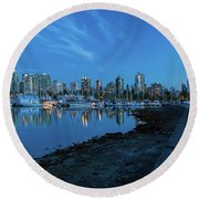 Vancouver Bc Skyline Along Stanley Park Seawall Round Beach Towel