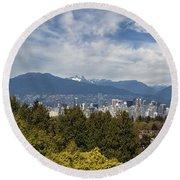 Vancouver Bc Skyline Daytime View Round Beach Towel
