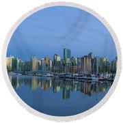 Vancouver Bc Skyline During Blue Hour Panorama Round Beach Towel