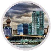 Vancouver Skyline Hdr Round Beach Towel