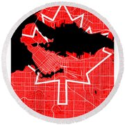 Vancouver Street Map - Vancouver Canada Road Map Art On Canada Flag Symbols Round Beach Towel