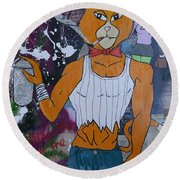 Vandal And Vixen Round Beach Towel