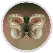 Vanilla Butterfly Rose Round Beach Towel
