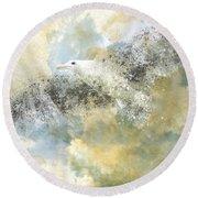 Vanishing Seagull Round Beach Towel by Melanie Viola