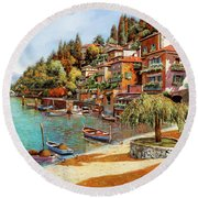 Varenna On Lake Como Round Beach Towel by Guido Borelli