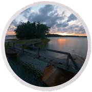 Variations Of Sunsets At Gulf Of Bothnia 6 Round Beach Towel