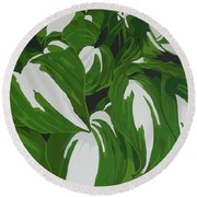 Variegated Hostas Round Beach Towel