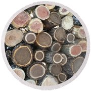 Various Firewood In The Round Round Beach Towel