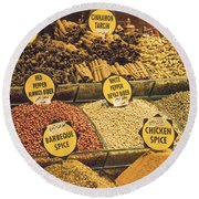 Various Spices Round Beach Towel