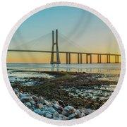 Vasco Da Gama Bridge Round Beach Towel