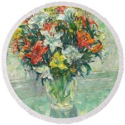 Vase Lilies Painting Round Beach Towel