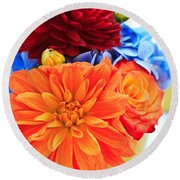 Vase Of Colorful Flowers Round Beach Towel