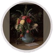 Vase Of Flowers And A Visiting Card Round Beach Towel