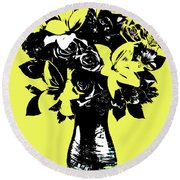 Vase Of Flowers Round Beach Towel