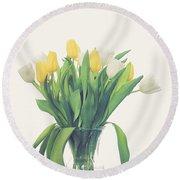 Vase Of Tulips Round Beach Towel