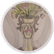 Vase Round Beach Towel
