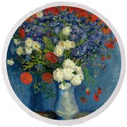 Vase With Cornflowers And Poppies Round Beach Towel