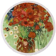 Vase With Daisies And Poppies Round Beach Towel
