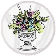 Vase With Flowers Round Beach Towel