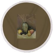 Vase With Fruit Round Beach Towel