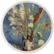 Vase With Gladioli And Chinese Asters Round Beach Towel