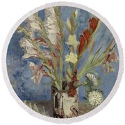 Vase With Gladioli And Chinese Asters Paris, August - September 1886 Vincent Van Gogh 1853  1890 Round Beach Towel
