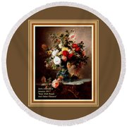 Vase With Roses And Other Flowers L A With Alt. Decorative Ornate Printed Frame. Round Beach Towel