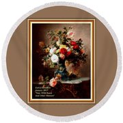 Vase With Roses And Other Flowers L A With Decorative Ornate Printed Frame. Round Beach Towel