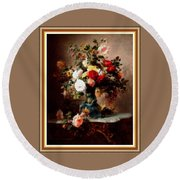 Vase With Roses And Other Flowers L B With Decorative Ornate Printed Frame. Round Beach Towel