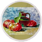 Vase With Tomatoes Round Beach Towel