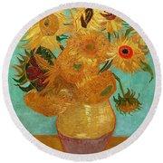 Vase With Twelve Sunflowers Round Beach Towel