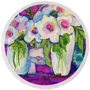 Vases Of White Flowers Round Beach Towel