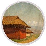 Vasily Vasilievich Vereshchagin  Russian 1842  1904 Nepalese Village Round Beach Towel