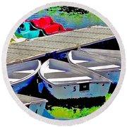 Boats Summer Vasona Park Round Beach Towel