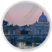 Vatican City At Sunset Round Beach Towel