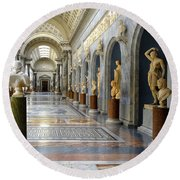 Vatican Museums Interiors Round Beach Towel by Stefano Senise