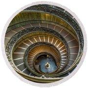 Vatican Staircase Round Beach Towel